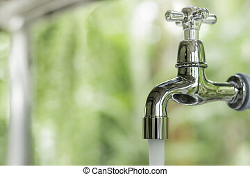 Running water out of  faucet