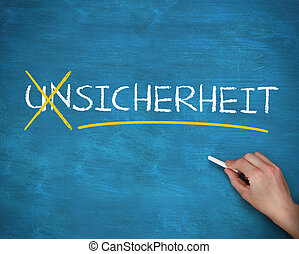 Hand crossing out german word unsicherheit on a blue board