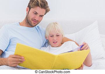 história, seu, pai, leitura, filho