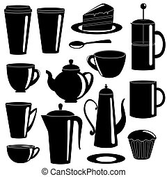 Collection of tea and coffee items silhouettes - Collection...