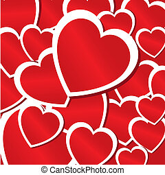 hearts background - hearts skin over red background vector...