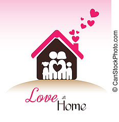 love at home  over pink background vector illustration