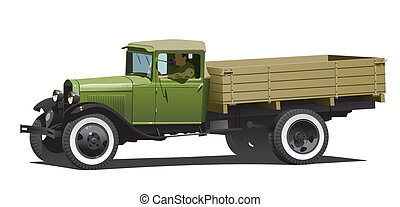 vintage truck - retro lorry isolated.