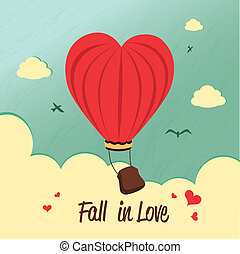 fall in love - fall in love over sky background vector...