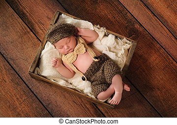 Newborn Baby Boy in Little Man Suit - Ten day old newborn...