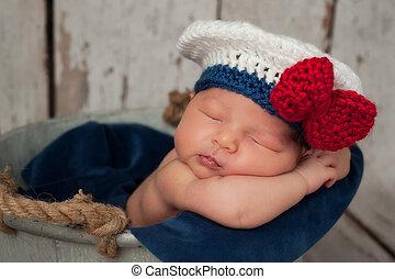 recem nascido, bebê, marinheiro, menina, chapéu
