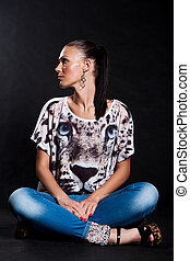 Long-haired woman in shirt with tiger