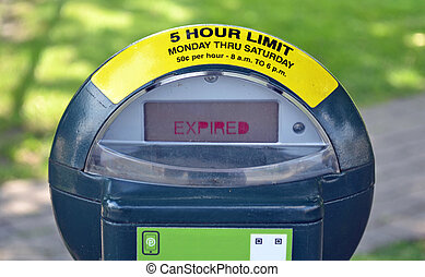 Parking Meter - A metal parking meter that has expired