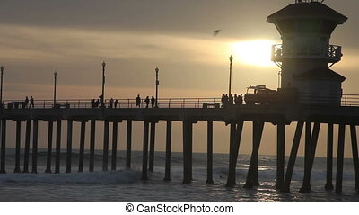 The Pier at Huntington Beach - Sunset at the pier ,...
