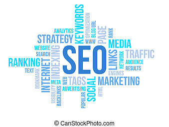 Seo business, search engine optimazion, concept cloud chart...