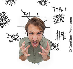 Outraged man gesturing and yelling with noughts and crosses...