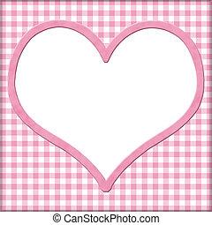 Cor-de-rosa, gingham, branca, Coração, seu,...
