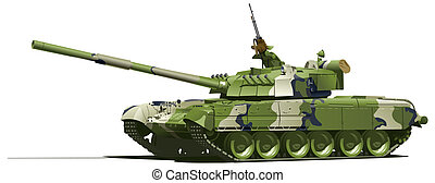 modern heavy tank - color illustration of  tank.