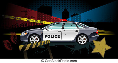 police car - illustration of police car