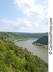 Lorelei - Loreley rock on the river Rhine and Katz Castle...