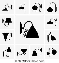 Wall lamp icons - Set of Wall lamp icons
