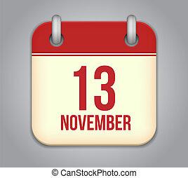 Vector November 13 calendar app icon - Vector November...