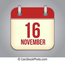 Vector November 16 calendar app icon - Vector November...