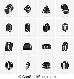 Crystal icons - Set of black crystal icons