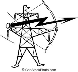 Electric power transmission support - Cartoon electric power...
