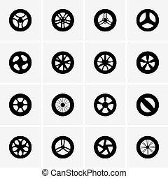 Baby stroller wheel icons - Set of Baby stroller wheel icons