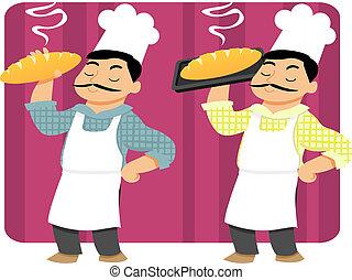 Baker Holding Bread - A baker holding freshly baked bread on...