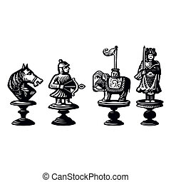 Old chessmen - Four old chessmen
