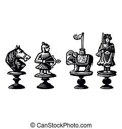 Piezas de ajedrez, viejo