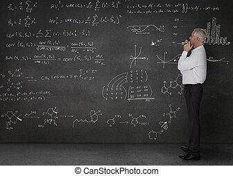 elegante, hombre de negocios, Mirar, matemáticas,...