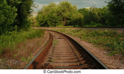 single set of railway lines stretching into the distance