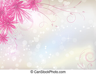 Light background with pink aster flowers and swirl floral...