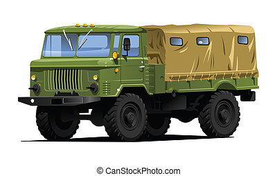military truck - color illustration of  military truck