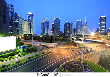 Lujiazui Finance&Trade Zone of modern urban architecture...