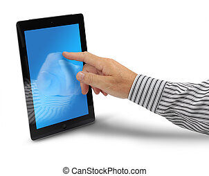 Male hand touching tablet computer display, isolated on...