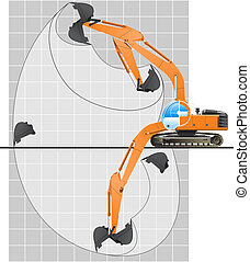 working range of an excavator - color illustration of...