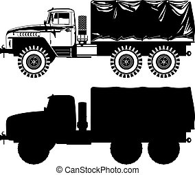military truck - black and white illustration of military...