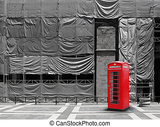 Red telephone booth canvas background - Red telephone booth,...
