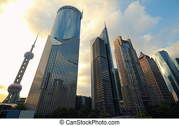 Shanghai Lujiazui city landscape - Looked up at the Shanghai...
