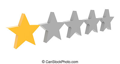 One star rating Concept 3D illustration