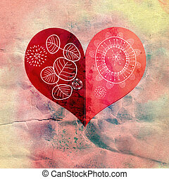 decorative heart - bright red heart on watercolor paper...