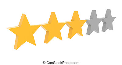 Three stars rating Concept 3D illustration