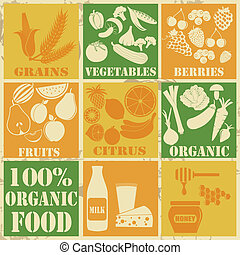 Set of 100% organic and healthy food icons on vintage...