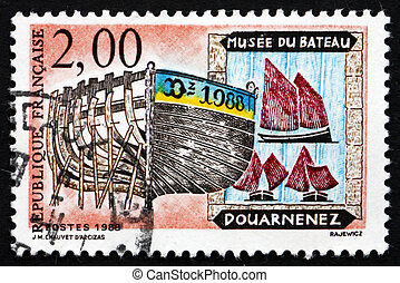 Postage stamp France 1988 Old Ships, Ship Museum, Douarnenez...