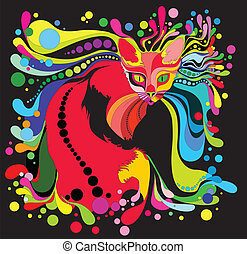 psychedelic cat - decorative cat with bright coloring on a...