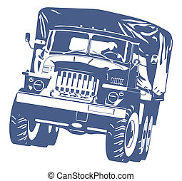off-highway truck - black and white illustration of military...