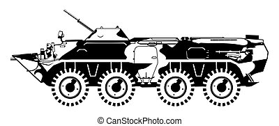 armored troop-carrier - black and white illustration of...