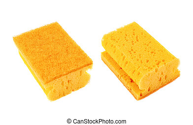 Kitchen sponge front and back view - Kitchen orange sponge...