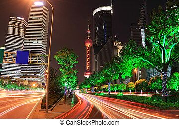 Far East Holiday Night Light trace modern architecture...
