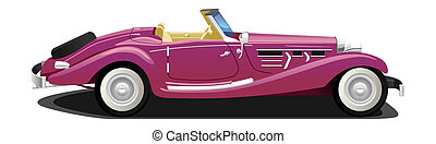 vintage  convertible - illustration of  of a retro car.