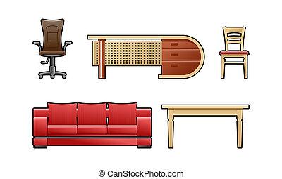 set of furniture - color illustration set of furniture.